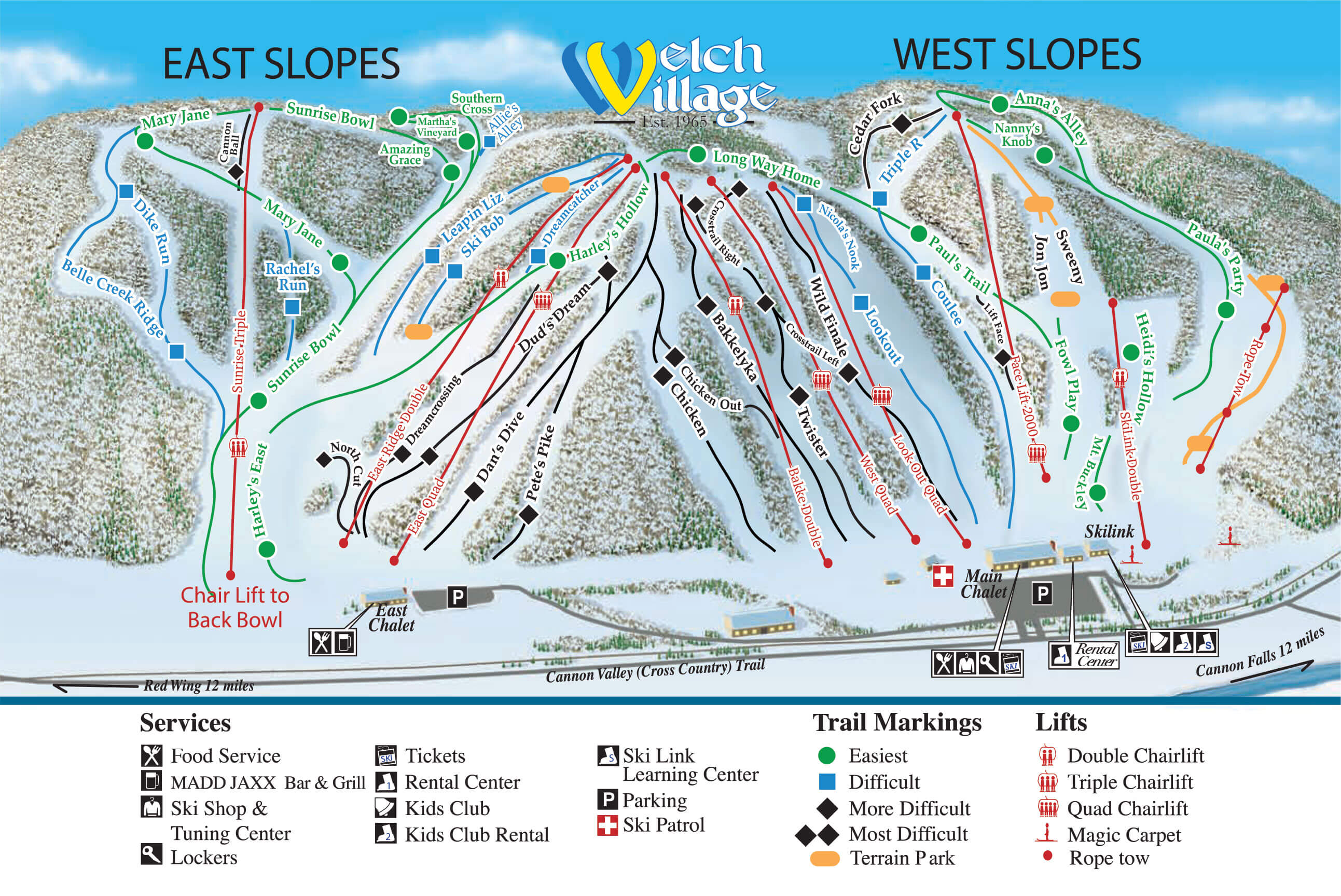 Welch Village East and West Slopes Trail Map